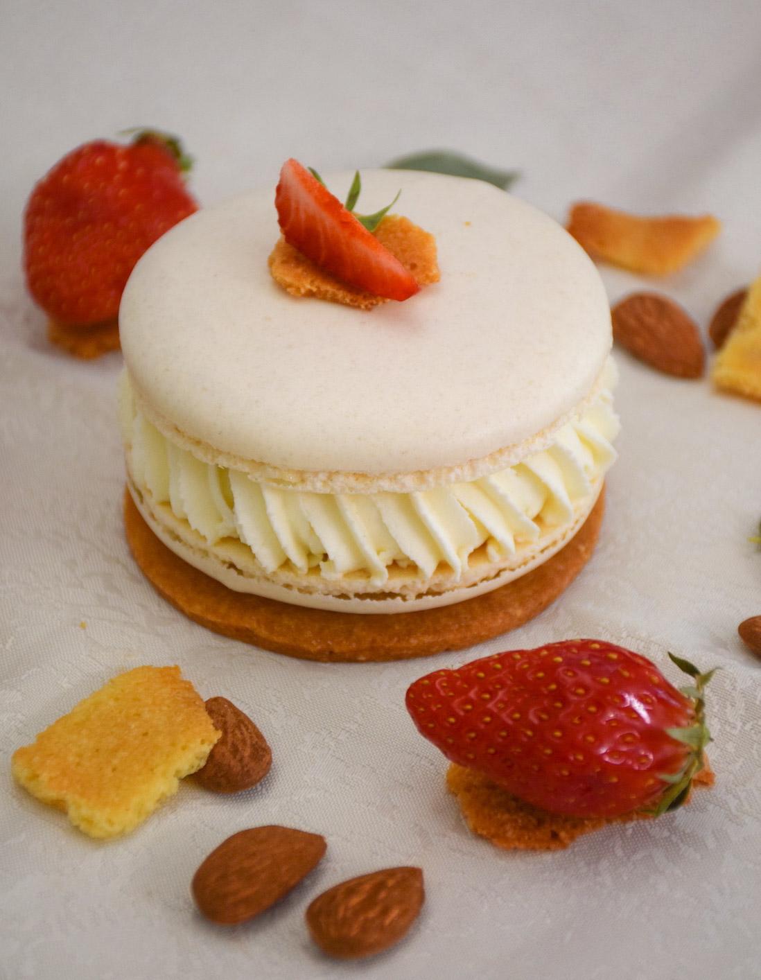 dessert macaroné fraise